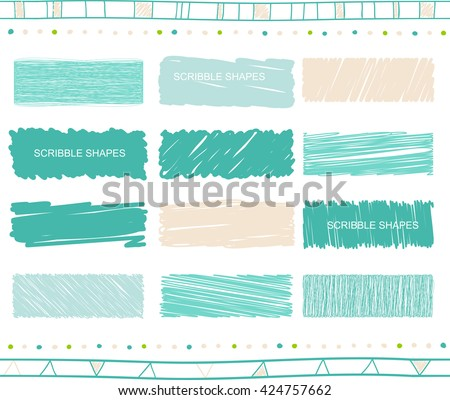 Vector collection of retro scribbled lines with hand drawn style of green and blue color - stock vector