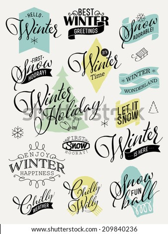 Vector collection of retro styled winter design elements featuring phrases about snow, cold weather, winter happiness and others | Everything for winter greeting card design | Scrapbook winter set - stock vector