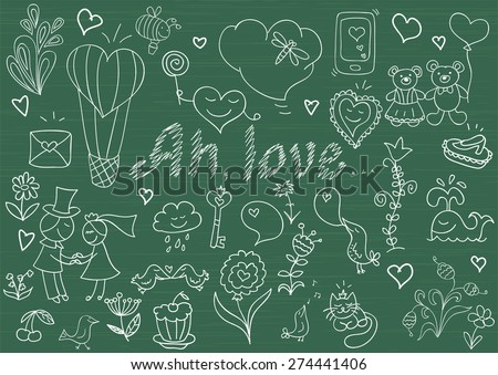 Vector collection of romantic symbols. Sketch on blackboard - stock vector