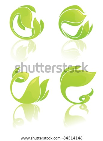 vector collection of round shapes with images of leaf - stock vector