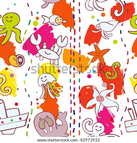 Vector Collection of Sea Animal this is seamless ornamental pattern for kids, magazines , web sites, textile industry