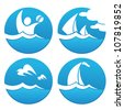 vector collection of sea symbols and summer adventure - stock