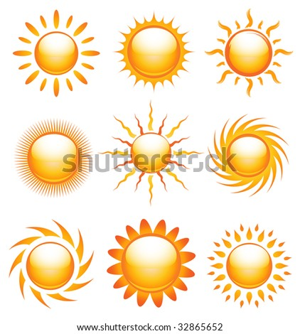 Vector collection of shiny sun icons - stock vector