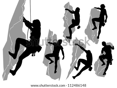 Vector collection of silhouettes of climbers
