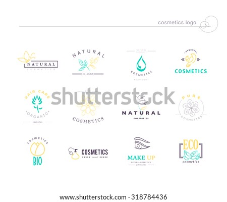 Vector collection of simple flat monogram cosmetics logo identity templates. Natural and eco product label. Organic cosmetics and health care insignia. Business brand mark design. Girl, flower icon. - stock vector