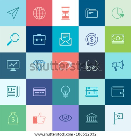 Vector collection of simple thin business and finance icons. - stock vector