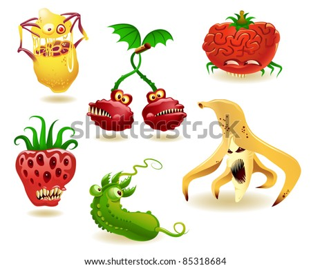 Vector collection of six genetically modified fruits and vegetables - stock vector