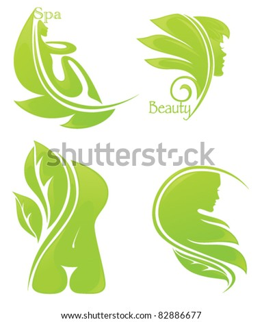 vector collection of spa and beauty symbols - stock vector