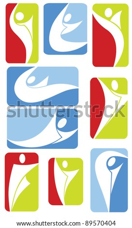 vector collection of sportive symbols and frames - stock vector