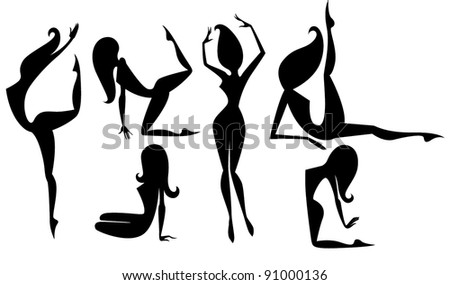 vector collection of sportive woman's silhouettes