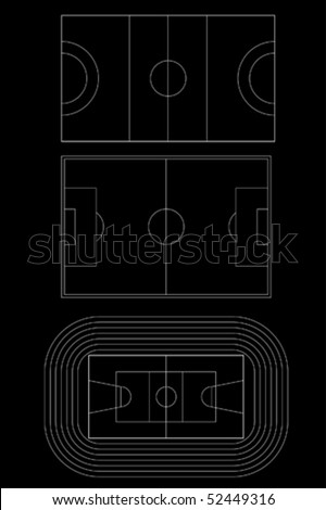 vector collection of 3 sports fields - stock vector