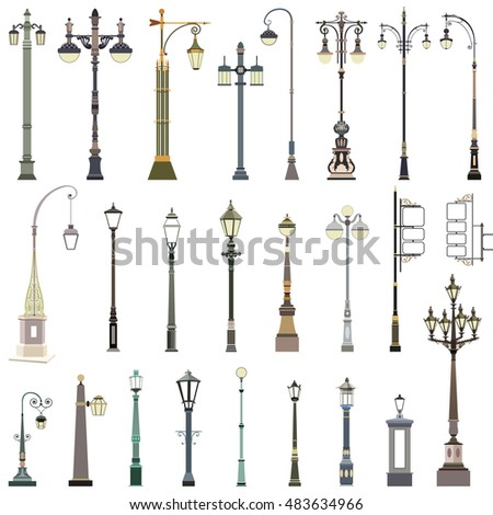 vector collection of street lamps