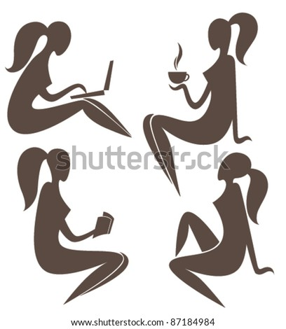 vector collection of stylish woman silhouette doing everyday routine - stock vector