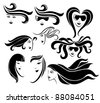 vector collection of stylized girl's faces - stock