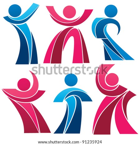 vector collection of stylized  people - stock vector