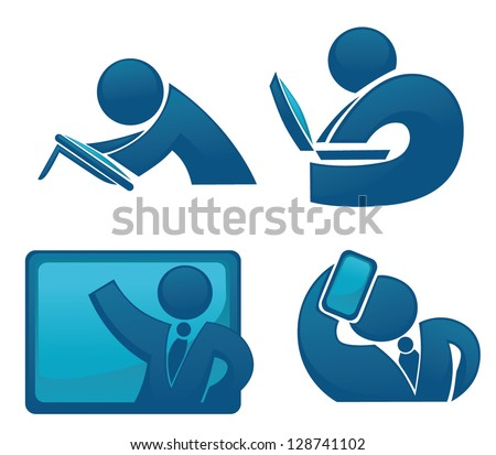 vector collection of success, office workers and business team in new technology style - stock vector