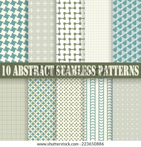 vector collection of ten seamless abstract backgrounds - stock vector