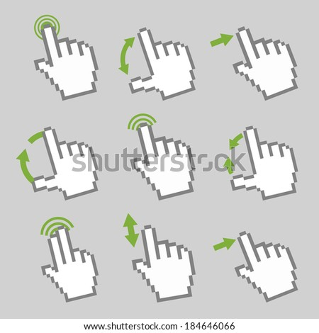 Vector collection of touch screen gesture. Guide with basic gestures to work with modern gadgets