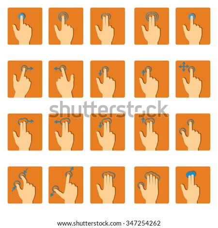 Vector collection of touch screen gesture icons in flat design