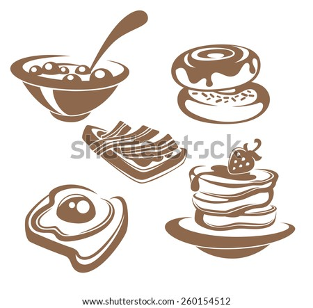 vector collection of traditional breakfast meal - stock vector