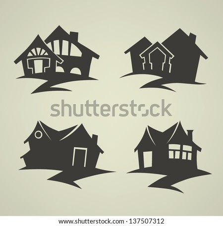 vector collection of traditional houses, emblems and signs - stock vector