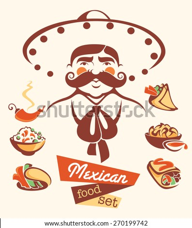 vector collection of traditional mexican fast food and man image - stock vector