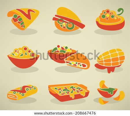 vector collection of traditional mexican fast food in flat style - stock vector