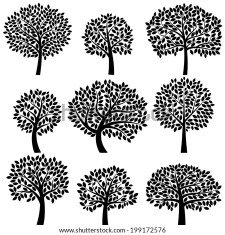 Vector Collection of Tree Silhouettes - Leaves and Branches Grouped Separately - stock vector