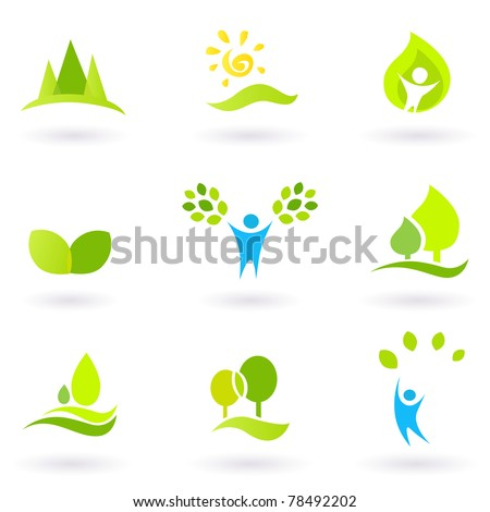 Vector collection of trees and nature icons. - stock vector