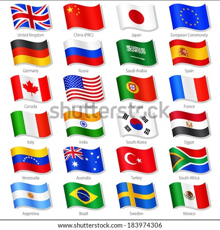 Vector Collection of twenty-four Top World Countries National Flags, in simulated 3 D waving position, with names and grey shadow. Every Flag is isolated on its own layer with proper naming. - stock vector