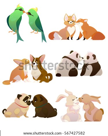 Vector Collection of Valentine's Day or Love Themed Kissing Animals Couples