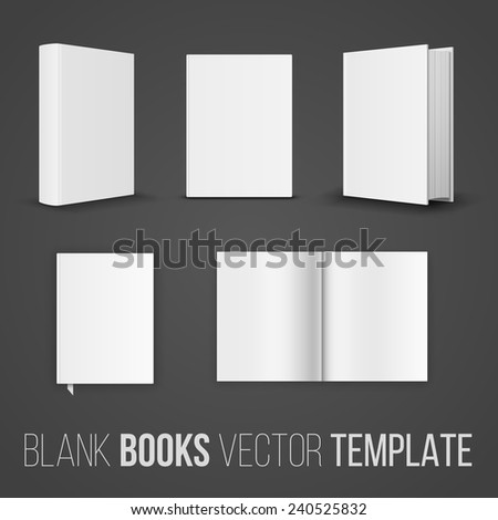 Vector collection of various blank books position  template  on dark background - stock vector