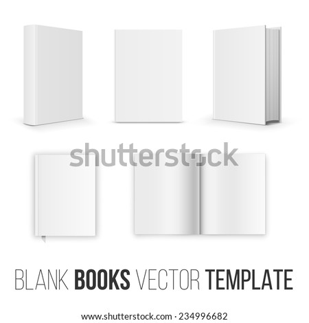 Vector collection of various blank books position  template  on white background - stock vector