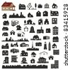 vector collection of various buildings - stock vector