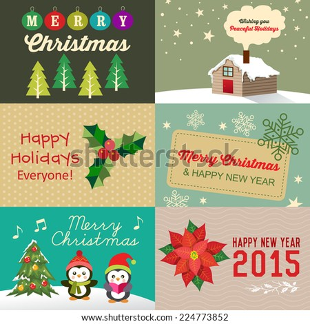 Vector collection of vintage Christmas elements, icons, illustration and holiday cards - stock vector