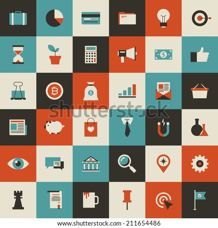 Vector collection of vintage flat business and finance icons. Design elements for mobile and web applications. - stock vector