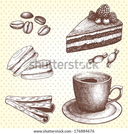Vector collection of vintage hand drawn coffee time illustrations.  - stock vector