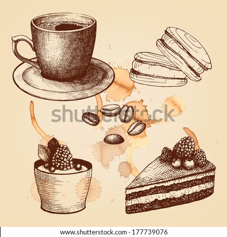 Vector collection of vintage hand drawn coffee time illustrations on spotted background - stock vector