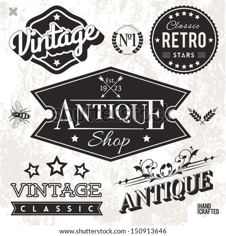 Vector Collection of Vintage Labels and Badges - stock vector