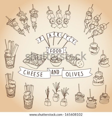 Vector collection of vintage party canapes and dips. Hand drawn vintage Illustration with canapes, dips and finger-food. Party set. Cheese and olive. Chalkboard design.  - stock vector