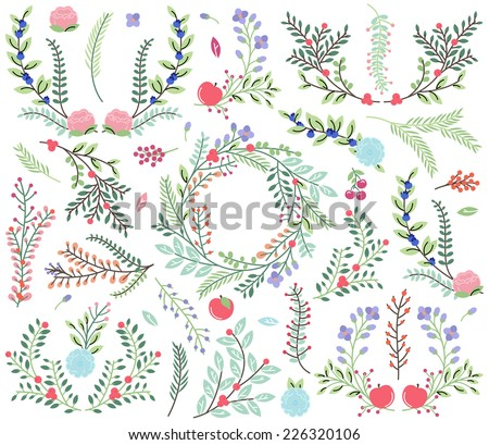 Vector Collection of Vintage Style Hand Drawn Florals - Great for Weddings and other celebrations - stock vector
