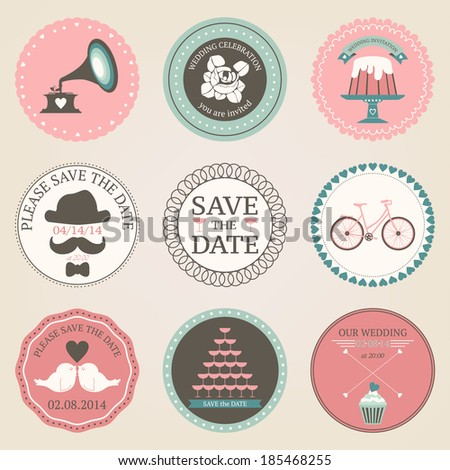 Vector Collection Of Vintage Wedding Decorative Stickers Retro Set Circles