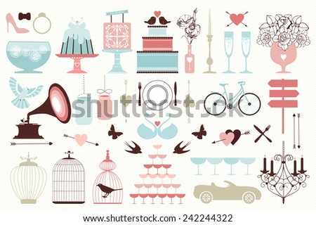 Vector collection of vintage wedding objects and icons. Set of holiday decoration elements. - stock vector