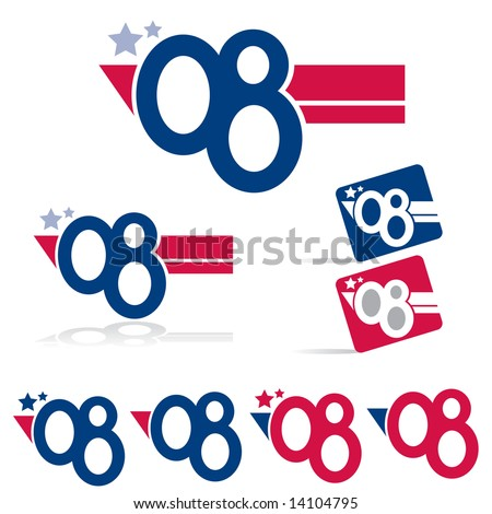 """Vector collection of """"Vote"""" graphics with '08 symbols (VOTE Set 5) - stock vector"""