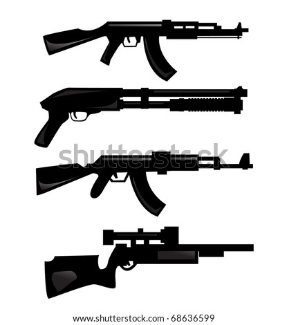 vector collection of weapon silhouettes