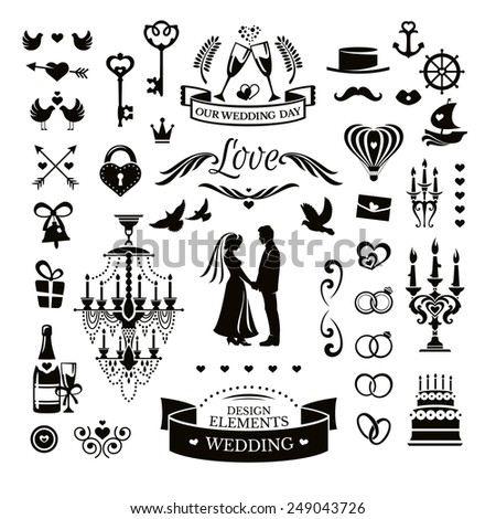 Vector collection of wedding icons and elements - stock vector