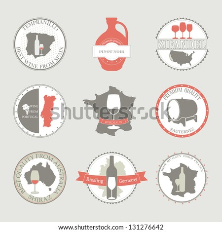 Vector collection of Wine Labels from different countries . Vector set with decorative elements - glasses for white wine, grapes, bottle, grapes, maps.