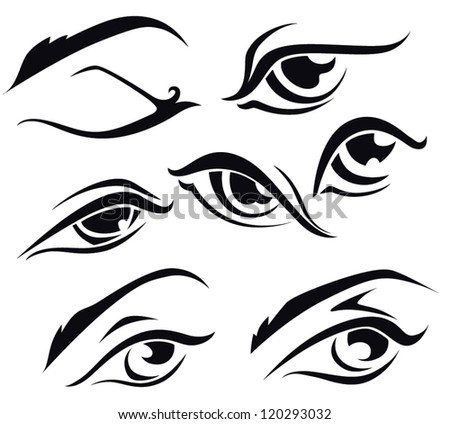 vector collection of woman' eyes  symbols and arts - stock vector