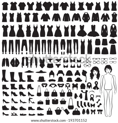 vector collection of woman fashion icons, paper doll, isolated clothing silhouette - stock vector