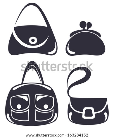 vector collection of woman's accessories, bags and purse - stock vector